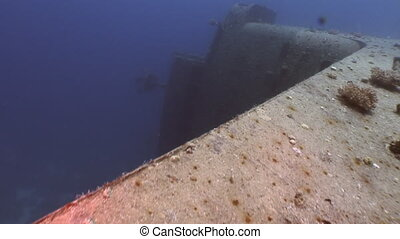 Salem Express shipwrecks underwater close up in the Red Sea in Egypt.