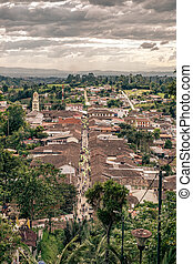 Salento, Colombia - Aerial view of the town of Salento, ...