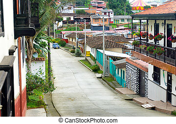 Salento, Colombia View - Street view of the town of Salento...