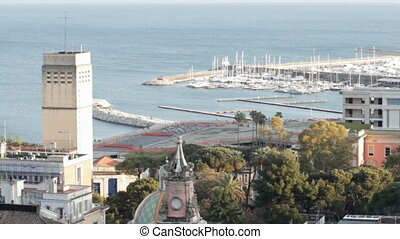 Salerno harbour - Aerial view of the adriatic sea and harbor...