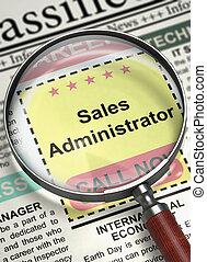 Sales Administrator Job Vacancy. 3D.