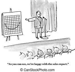 Sales are Up - Business cartoon about CFO announcing that...