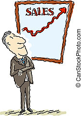 Sales are up - Vector illustration of a happy businessman...