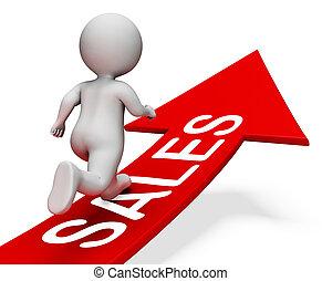 Sales Arrow Means Retail Trade 3d Rendering - Sales Arrow...