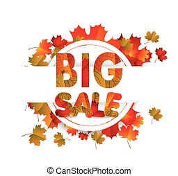 Sales banner with autumn leaves isolated on white background