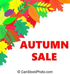 Sales banner with autumn leaves