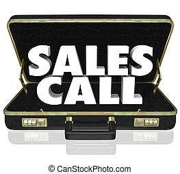 Sales Call words in an open black leather briefcase to illustrate a selling presentation or proposal shown to customers, clients or prospects