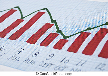 Sales chart report - Manual sales chart report made with red...