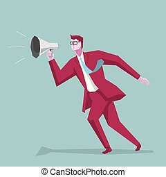 Sales concept design. Businessman giving a speech. Isolated on blue background.