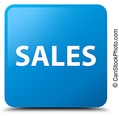 Sales cyan blue square button