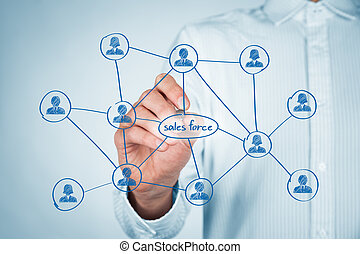 Sales force concept. Businessman draw sales force team...