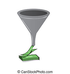 An illustration of sales funnel with money pouring onto a stack of bills