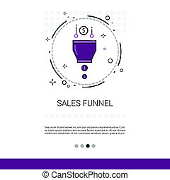 Sales Funnel Analysis Concept Finance Data Web Banner With Copy Space