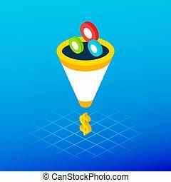 Sales Funnel Leads Money Concept