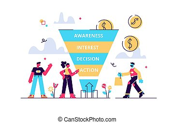 Sales funnel stages, potencial customers, buyer with purchase. Sales funnel management, customer journey representation, sales funnel stages concept. Bright vibrant violet vector isolated illustration