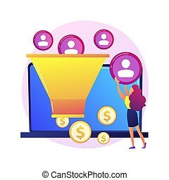 Sales funnel. Lead generation, customer management, marketing strategy. Commerce conversion flat design element. Selling plan. Clients filter. Vector isolated concept metaphor illustration
