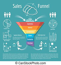 Sales funnel vector illustration. Business purchases or...