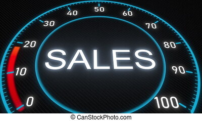 Sales futuristic meter or indicator. Conceptual 3D animation...