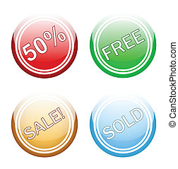 Sales glossy with white round button