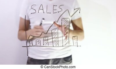 sales graph growth text inscription man businessman writes on glass