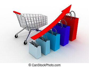 sales grow chart with cart