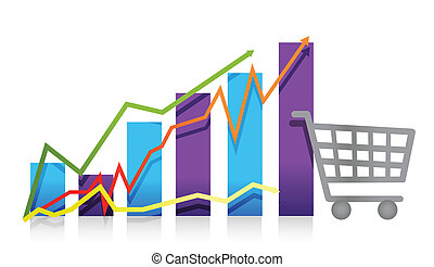 Sales growth business chart shopping cart illustration