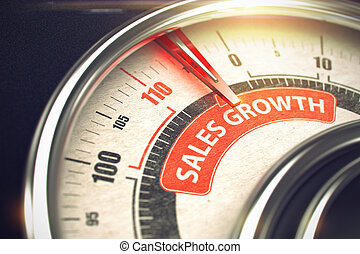 Metallic Manometer with Red Punchline Reach the Sales Growth. Illustration with Depth of Field Effect. 3D.