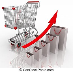 Sales growth chart. Presenting a getting better economy and...