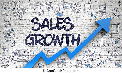 Sales Growth Inscription on Modern Illustration. with Blue Arrow and Hand Drawn Icons Around. Sales Growth - Development Concept with Doodle Icons Around on the White Wall Background.