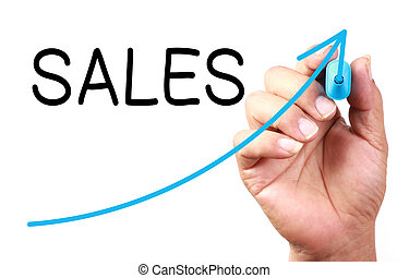 Sales Growth - Growth Sales drawn on transparent whiteboard.