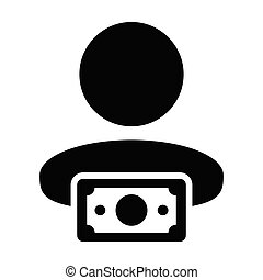 Sales icon vector male user person profile avatar with money...