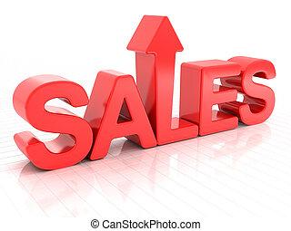Sales increase - Sales with upward arrow, 3d render, white...