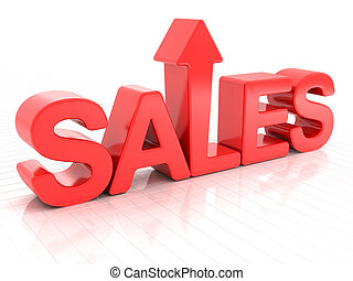 Sales increase - Sales with upward arrow, 3d render, white...