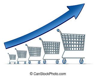 Sales Increase - Sales increase symbol as a group of rising...