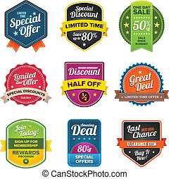 Sales labels - Set of vector sales labels and sticker ...
