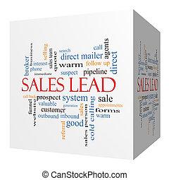 Sales Lead 3D cube Word Cloud Concept