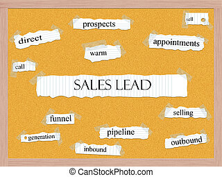 Sales Lead Corkboard Word Concept with great terms such as...