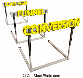 Sales Lead Generation Funnel Conversion Hurdles 3d Illustration