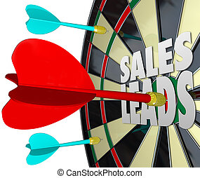 Sales Leads Dart Board Selling Prospects Customers - Sales...