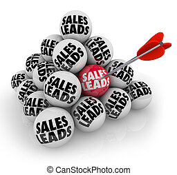 Sales Leads Pyramid Balls New Business Customers Prospects -...