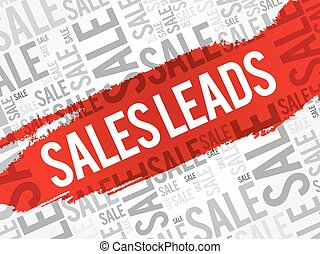 Sales Leads words cloud, business concept background