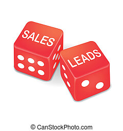 sales leads words on two red dice over white background
