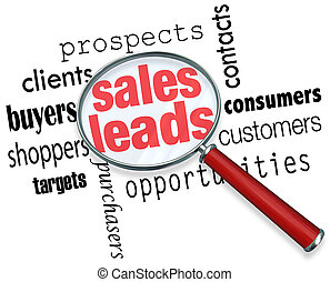 Sales Leads words under a magnifying glass to illustrate searching, looking for and finding new customers, prospects and selling opportunities