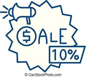 Sales line icon concept. Sales flat vector symbol, sign, outline illustration.
