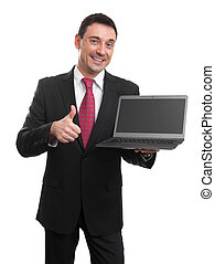 Sales man presenting somenting on laptop screen. Isolated...