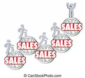Sales Over Time Selling Products Achieving Reaching Top Quota