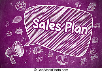 Sales Plan - Cartoon Illustration on Purple Chalkboard.