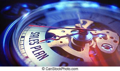 Sales Plan - Inscription on Vintage Pocket Clock. 3D Render....