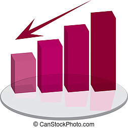 sales plinth red down arrow