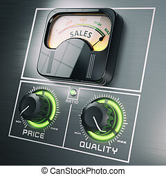 Sales price quality ratio control marketing concept. Maximum sales at high quality and low price switches.